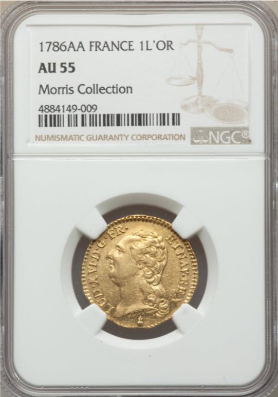 アンティークコイン-フランス-ルイ16世ルイドール金貨1786AA-NGC-AU55