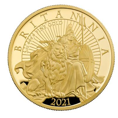 グレートブリテン2021年エリザベス2世純金2オンス 200ポンドプルーフ・ライオンとブリタニア金貨箱付き