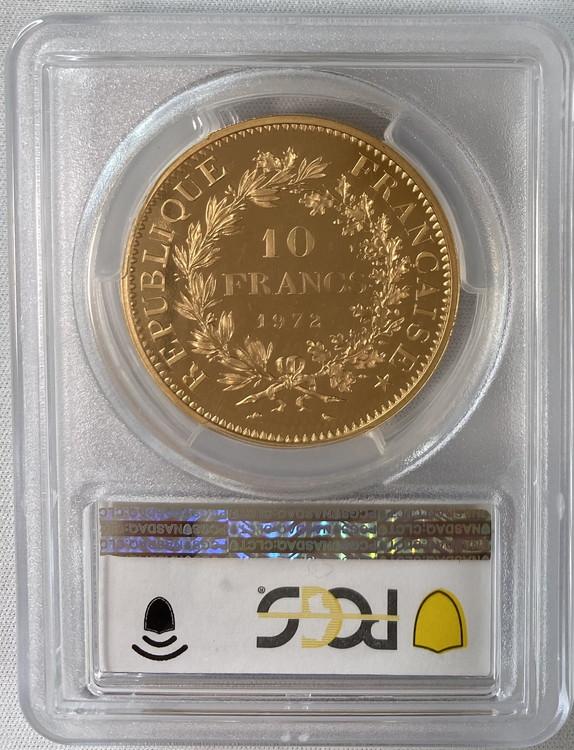 アンティークコイン フランス 1972年 10フラン ピエフォー金貨 PCGS-SP67
