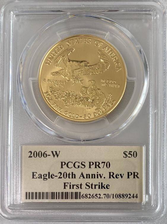 【残存1枚】アメリカ50ドル金貨 ゴールドイーグル20周年記念リバースプルーフ2006年W  $50PCGS-PR70ファーストストライク-クリーブランドサイン入り
