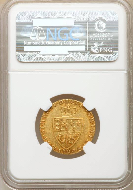【動画あり】グレートブリテン-ジョージ3世1792年1ギニー金貨NGC-AU53