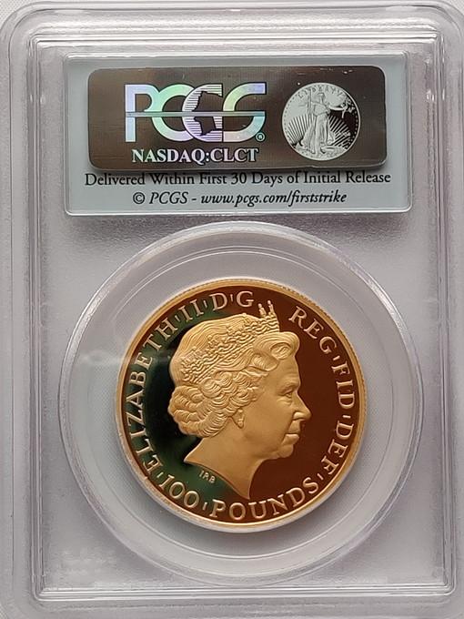 グレートブリテン2011年ユニオンジャックブリタニア100ポンド金貨PCGS-PR70DCAM