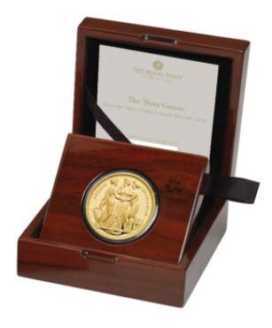 グレートブリテン2020年スリーグレーセス2オンス200ポンド金貨オリジナル箱付き