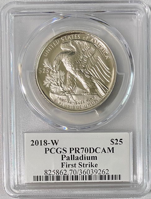 2018-W年パラジウム イーグル25ドルPCGS-PR70DCAMファーストストライク ジョー・オーランドサイン入り