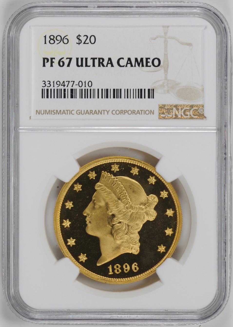 アンティークコイン アメリカ 20ドル金貨リバティヘッド1896 $20 Liberty Head Double EaglePF67UCAM NGC