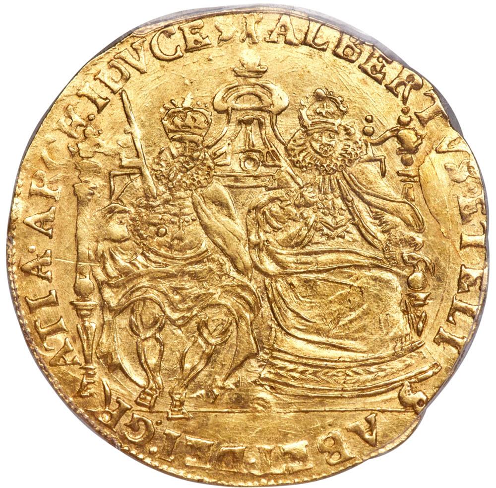 ベルギー・トゥルネー アルベール&イサベル 2ソブリン・ドールND(1598-1621) AU58 PCGS