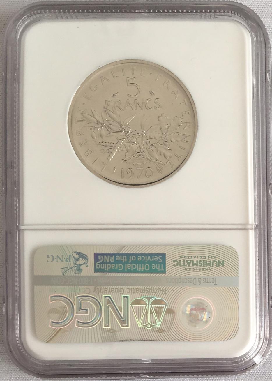 【動画あり】1970年フランス試鋳貨プラチナ貨5フランNGC-PF69