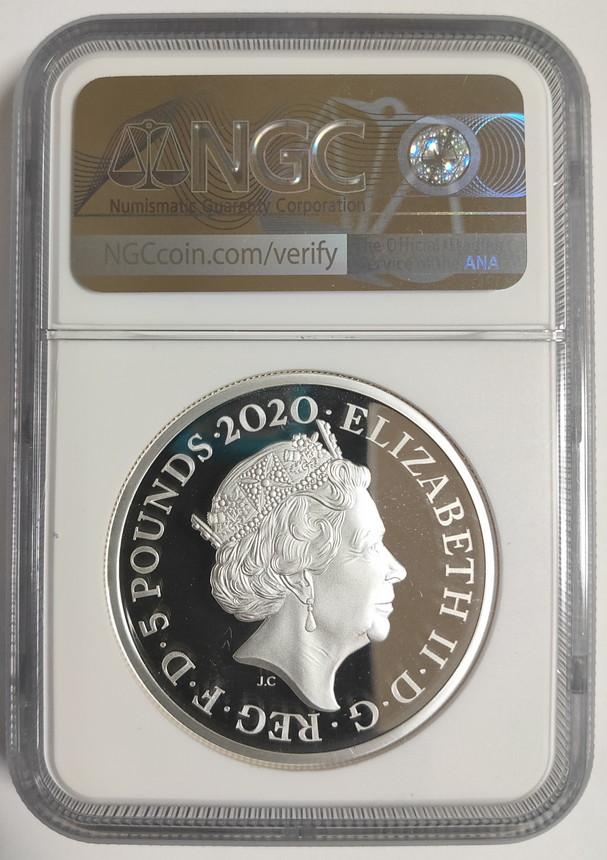 グレートブリテン2020年スリーグレーセス2オンス5ポンド銀貨 NGC PF70UCAMアーリーリリースオリジナル箱付き6055743-002