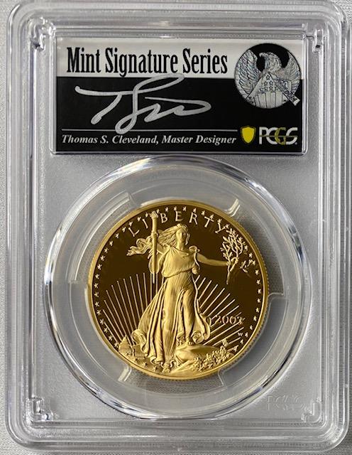 【動画あり】アメリカ50ドル金貨 ゴールドイーグル 2003-W年 $50PCGS PR70DCAMクリーブランドサイン入り