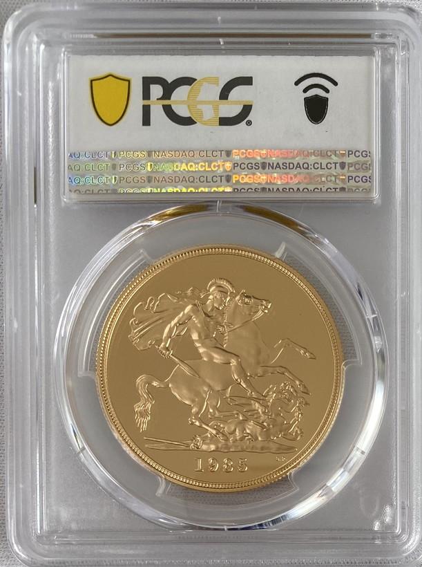 グレートブリテン 1985年エリザベス5ポンドプルーフ金貨PCGS-PR70DCAM