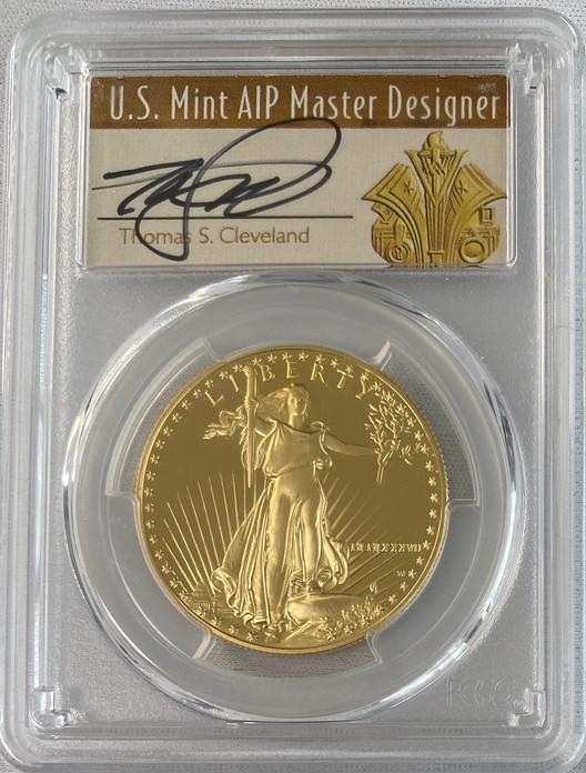 【動画あり】アメリカ50ドル金貨ゴールドイーグル1987-W-$50PCGS PR70DCAMサイン入りトーマスクリーブランドサイン入り