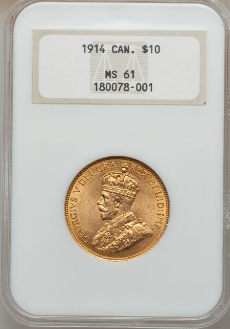 最終セール品【動画あり】カナダ 10ドル金貨George V gold 10 Dollars 1914 MS61 NGC KM27