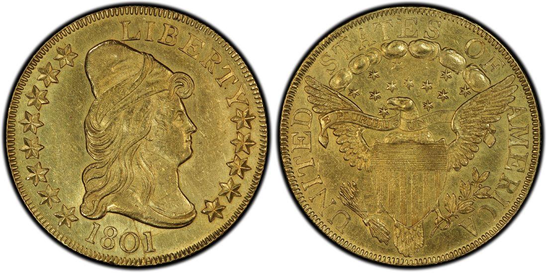 【動画あり】アンティークコイン アメリカ 10ドル金貨ドレープドバスト1801 $10 CAPPED BUST GOLD EAGLE AU58 PCGS