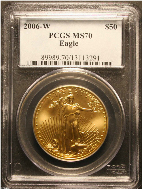 50ドル金貨 ゴールドイーグル 2006-W GOLD EAGLE  $50 PCGS MS 70 完全未使用