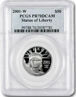 プラチナイーグル 50ドル 1/2オンス2001-W PCGS PR70 DCAM Statur of Liberty