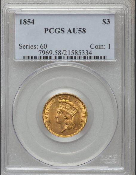 【動画あり】アンティークコイン アメリカ 3ドル金貨インディアンプリンセスヘッド1854 $3 PCGS AU58