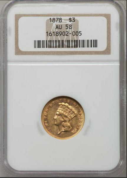 アンティークコイン アメリカ 3ドル金貨インディアンプリンセスヘッド1878 $3 NGC AU58