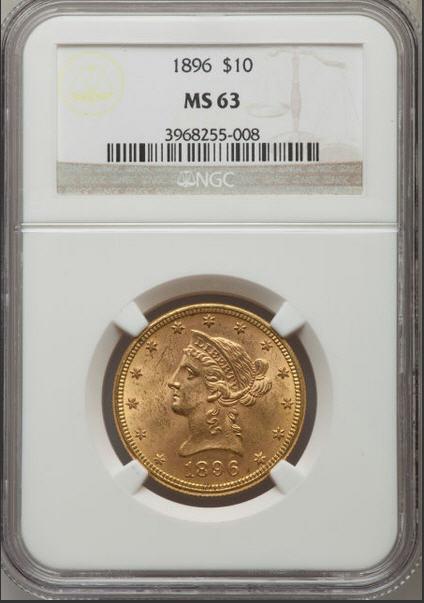 【動画あり】アンティークコイン アメリカ 10ドル金貨リバティヘッド 1896 $10 NGC MS63
