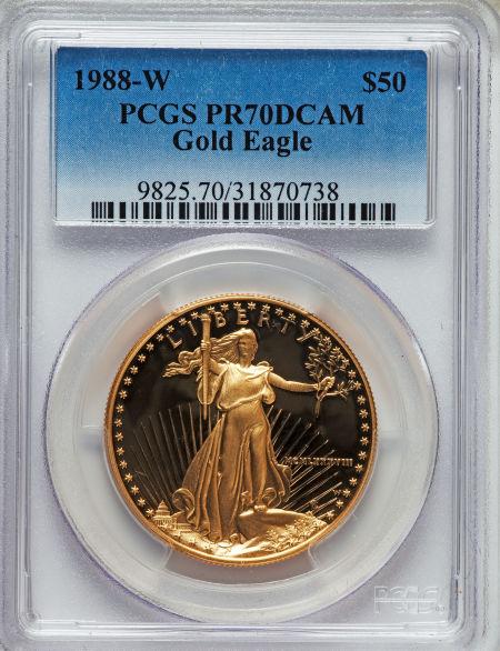 【動画あり】50ドル金貨 ゴールドイーグル 1988-W GOLD EAGLE  $50 PCGS PR70DCAM完全未使用