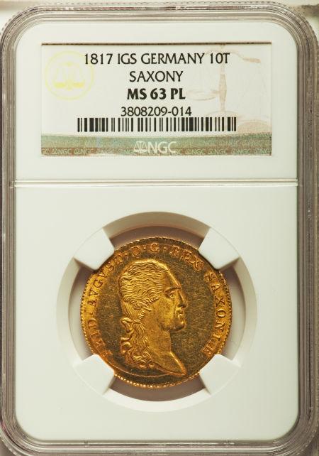 【動画あり】ドイツ10ターラー金貨German States Saxony. Friedrich August I gold 10 Taler (2 August d'or) 1817-IGS MS63 Prooflike NGC