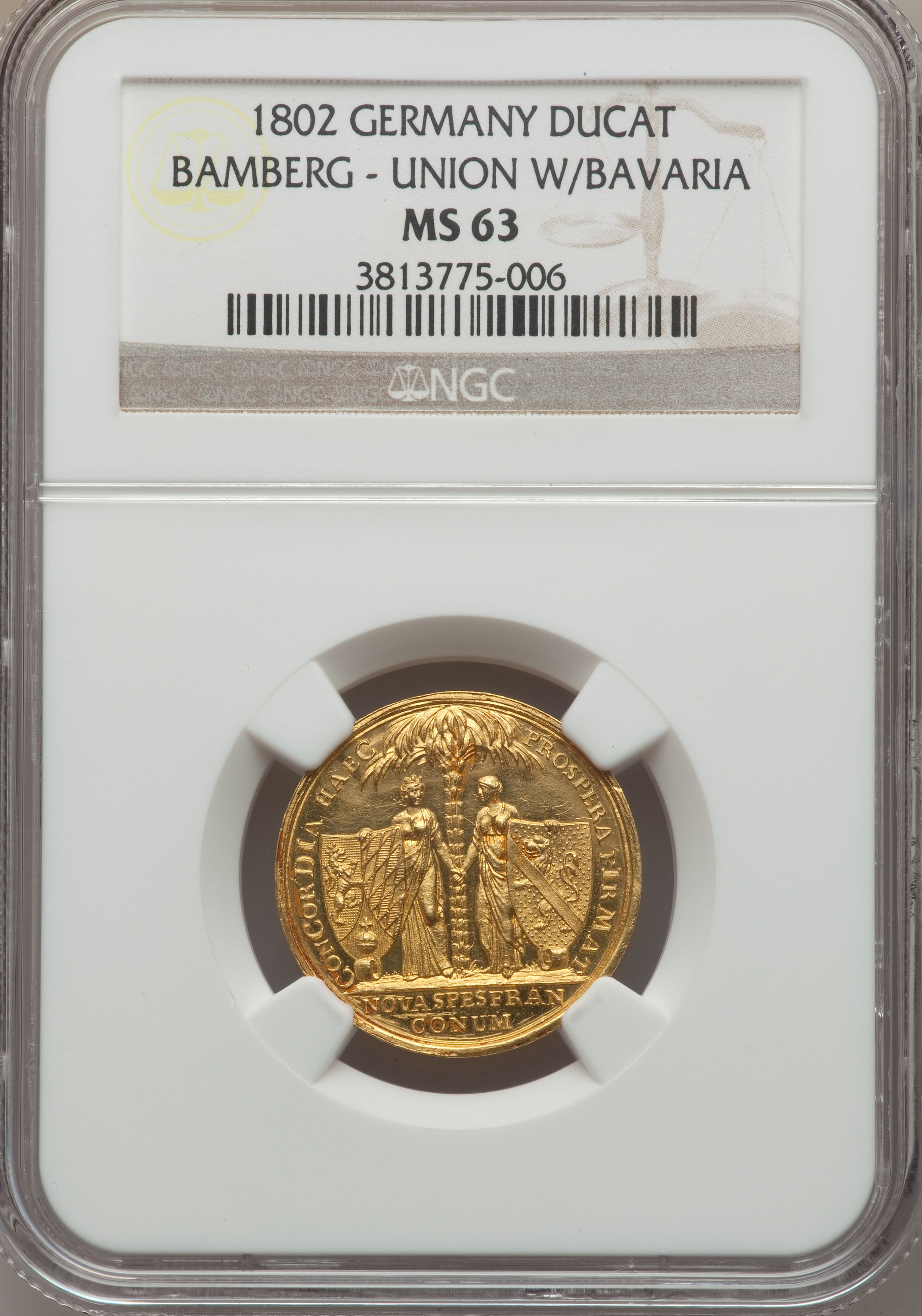 【動画あり】アンティークコイン ドイツ金貨 Bamberg. Christoph Franz von Buseck Ducat 1802 MS63 NGC