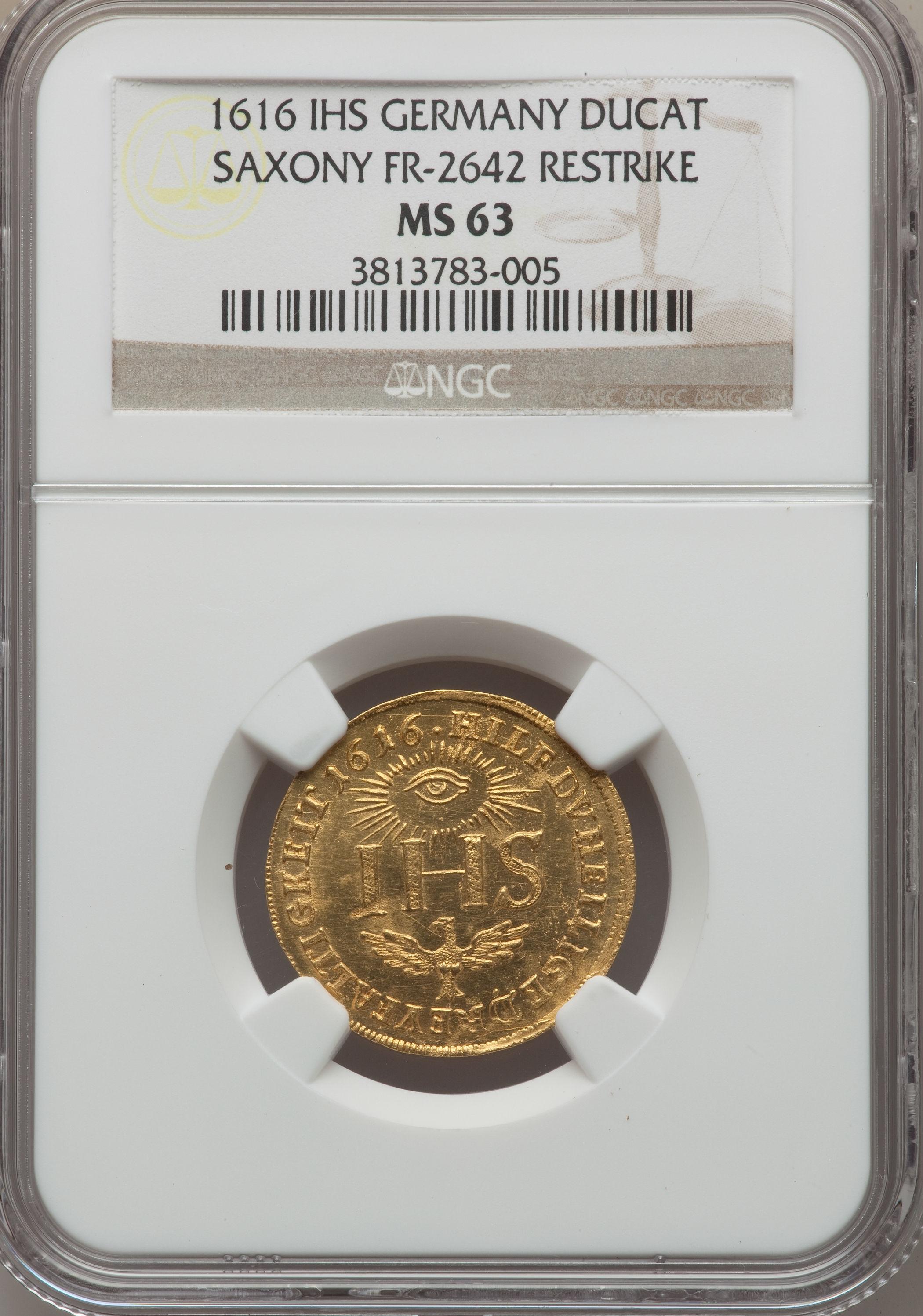 【動画あり】アンティークコイン ドイツ金貨 Saxony. Johan George I gold Ducat Restrike 1616-IHS MS63 NGC