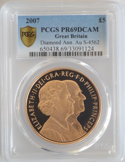 【動画あり】2007 ダイアモンドアン5ポンド金貨Diamond Ann. Au PR69DCAM PCGS