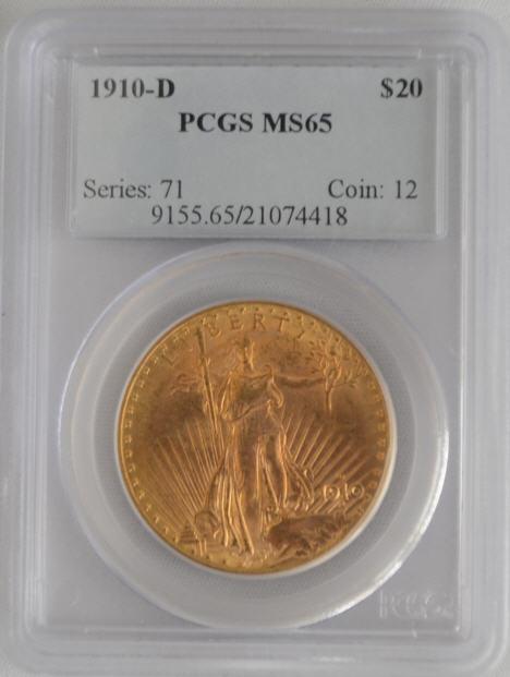 【動画あり】アンティークコイン アメリカ 20ドル金貨セントゴーデンズ 1910-D PCGS MS65