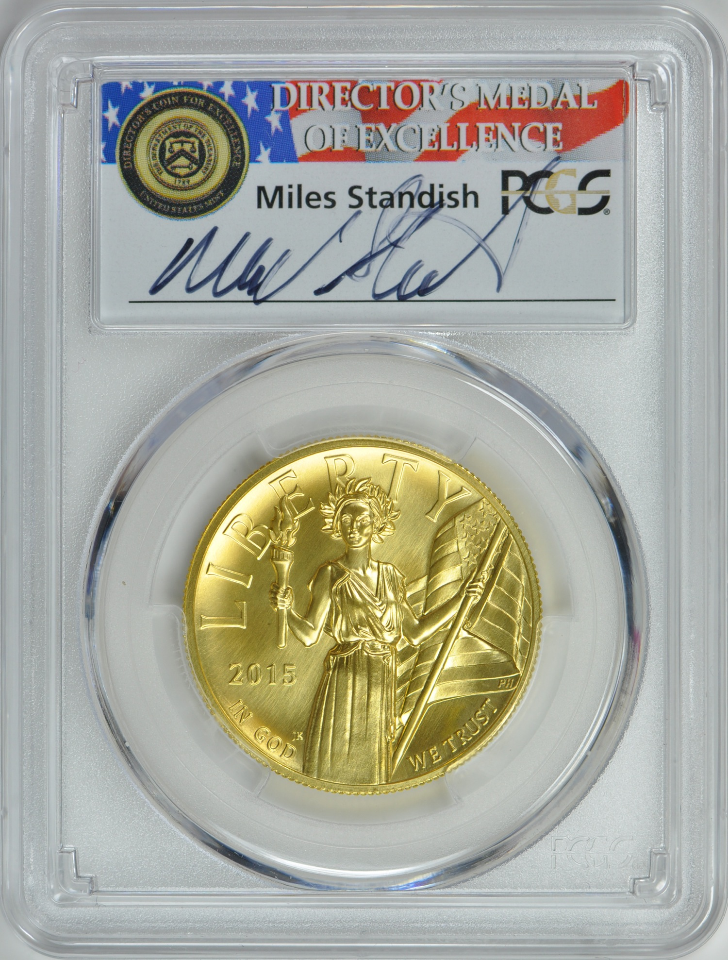 2015アメリカンリバティ ハイリリーフ 100ドル金貨PCGS-MS70 ファーストストライクMiles Standish サイン入り