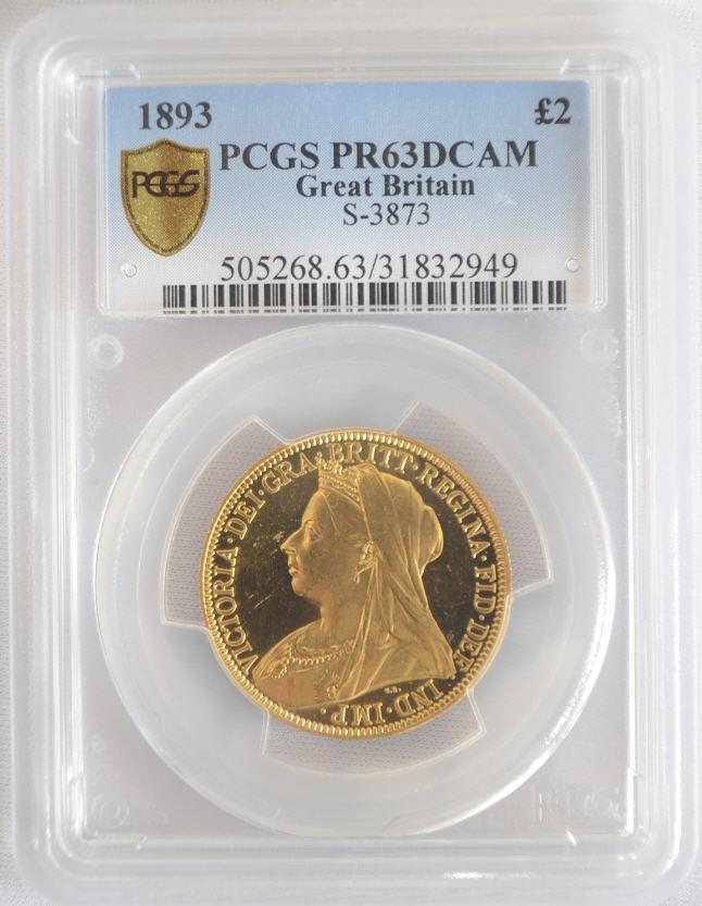 【動画あり】アンティークコイン グレートブリテン金貨 Great Britain ビクトリア プルーフ 2ポンド 1893 PR63 DCAM PCGS