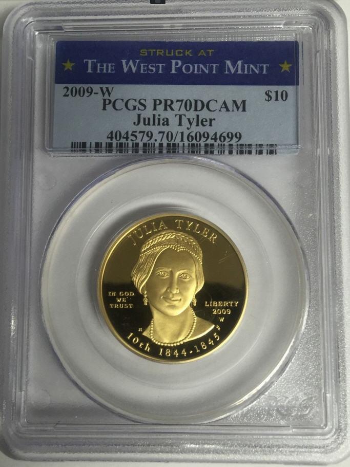 【動画あり】2009-W 10ドル金貨 ジュリア タイラー$10 PCGS PR70DCAM THE WEST POINT MINT