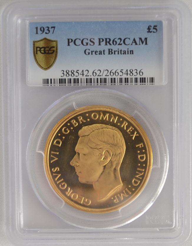 【新春セール品】【動画あり】アンティークコイン グレートブリテンジョージ6世5ポンド プルーフ金貨 1937 Proof 5 pound PCGS PR62CAM
