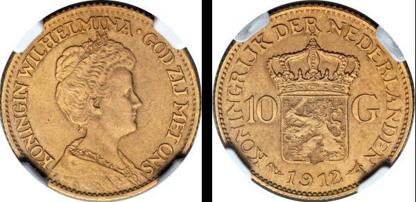 【動画あり】アンティークコイン オランダ 1912年ウィルヘルミナ王女10ギルダー マットプルーフ金貨 NGC PF64MATTE