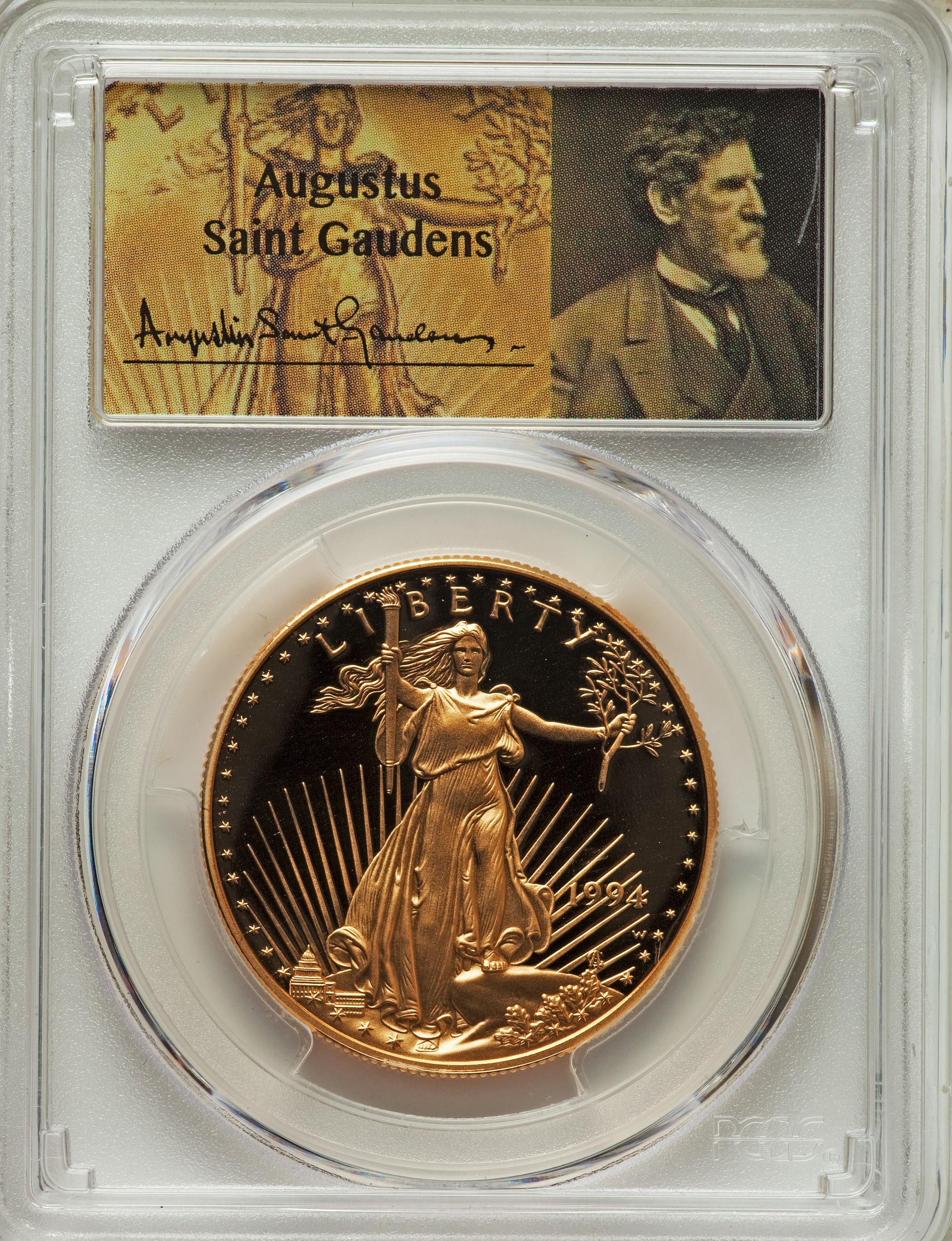 【動画あり】50ドル金貨 ゴールドイーグル 1994W GOLD EAGLE  $50 PCGS PR70DCAM セントゴーデンズサイン入り完全未使用