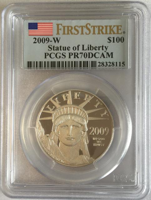 【動画あり】プラチナイーグル 100ドル 1オンス2009-W $100 Platinum Eagle PR70 DCAM PCGSファーストストライク