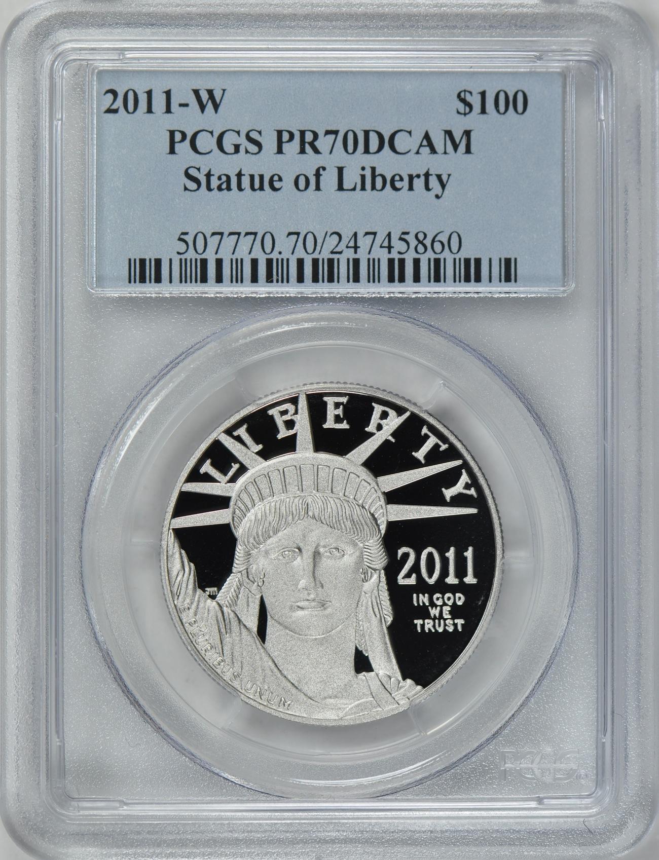 【動画あり】プラチナイーグル 100ドル 1オンス2011-W $100 Platinum Eagle PR70 Deep Cameo PCGS