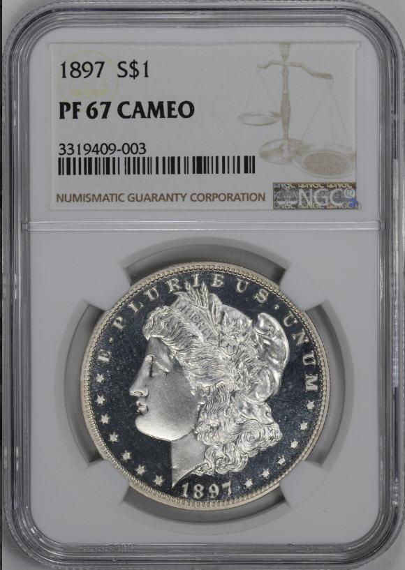 アンティークコイン アメリカ 1ドル モルガン銀貨1897 $1 NGC PF67CAMEO