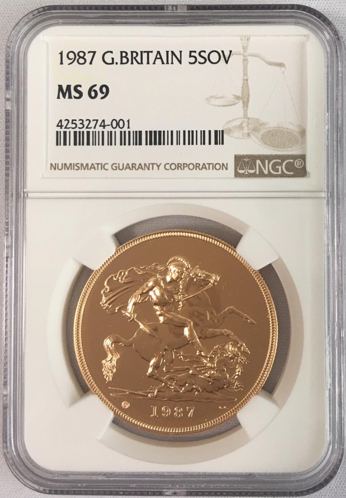 【動画あり】【残存9枚】1987 グレートブリテン5ソブリン金貨 NGC MS69