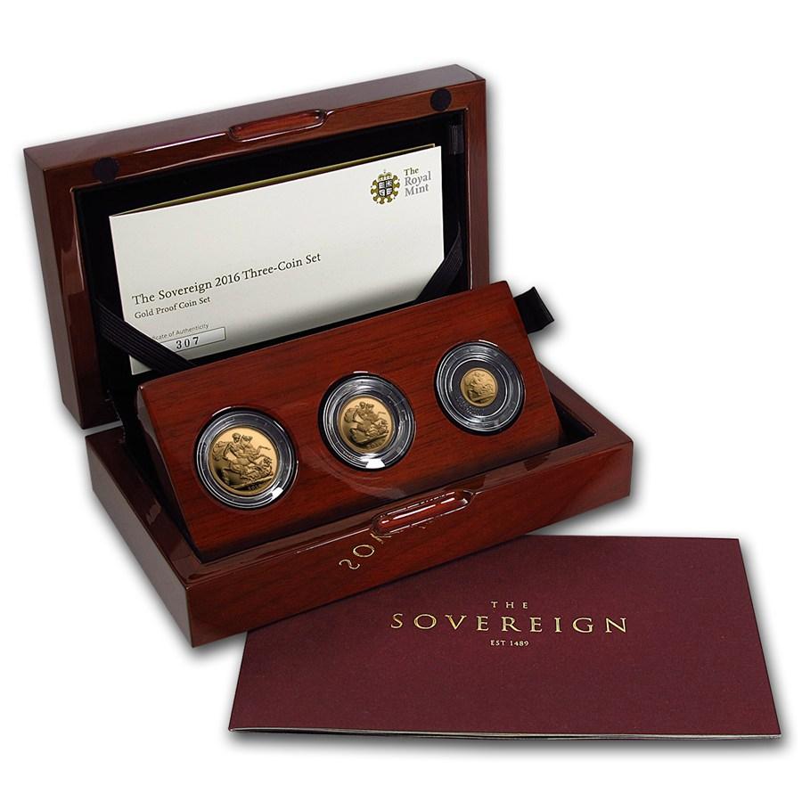 生誕90周年 2016年グレートブリテン プルーフソブリン金貨3枚セット箱付き