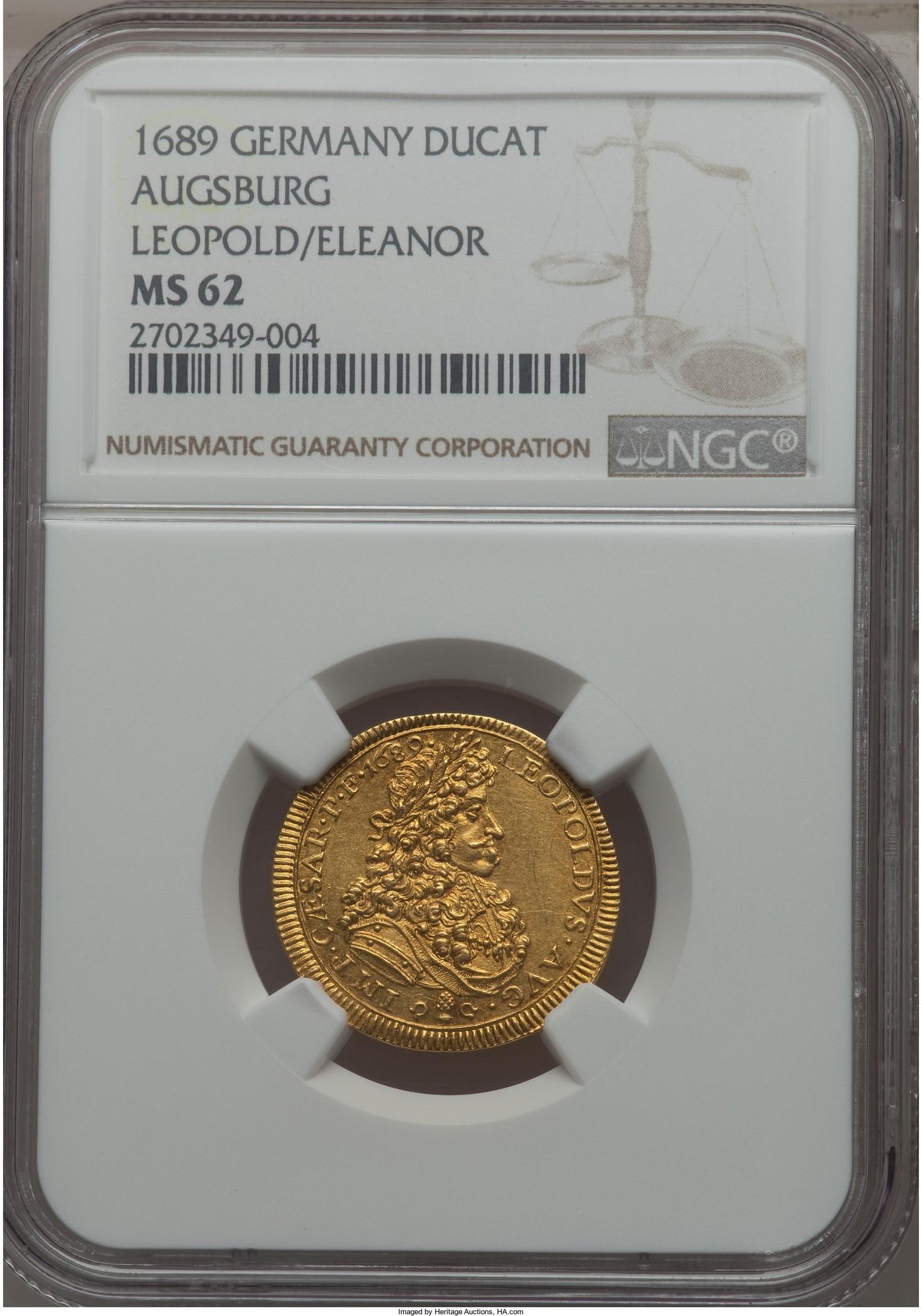【動画あり】【トップグレード残存2枚】アンティークコイン ドイツ金貨 Augsburg. Free City レオポルト1世gold Ducat 1689年 MS62 NGC