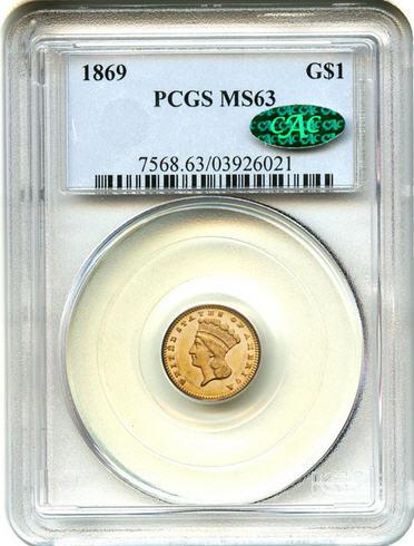 アンティークコイン アメリカ ゴールドダラー1ドル金貨 1869 G$1 PCGS/CAC MS63 タイプ3 売切れ