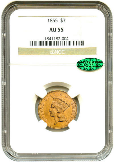 アンティークコイン アメリカ 3ドル金貨インディアンヘッド1855 $3 NGC/CAC AU55 準未使用