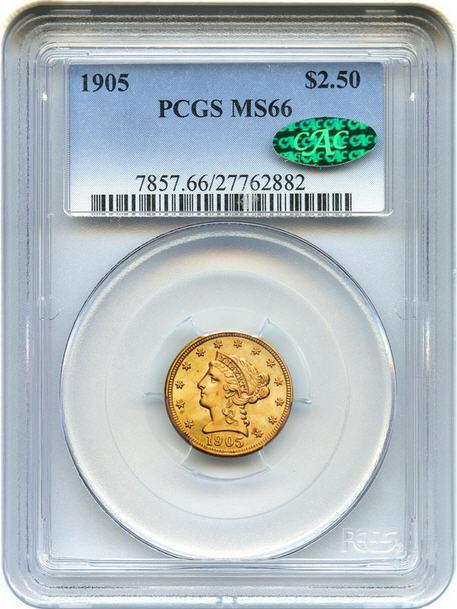 アンティークコイン アメリカ 2.5ドル金貨 1905 $2 1/2 PCGS/CAC MS66リバティヘッド 売切れ