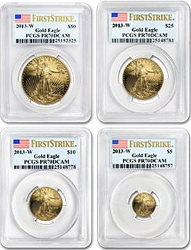 50ドル金貨 2013-W Gold Eagle 4-COINS PCGS PR70 DCAM First Strike 完全未使用