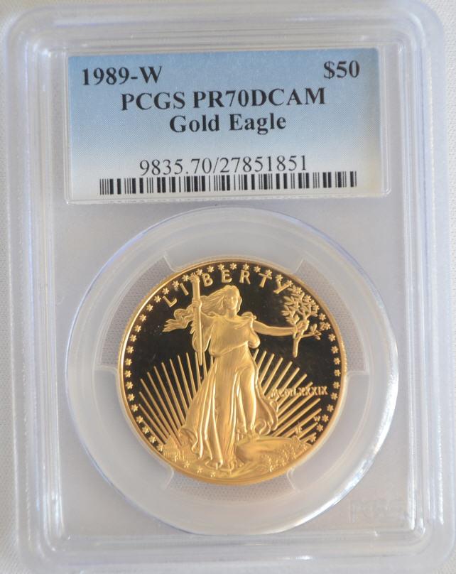 【動画あり】50ドル金貨 1989-W 1 oz Proof Gold American Eagle PR-70 PCGS