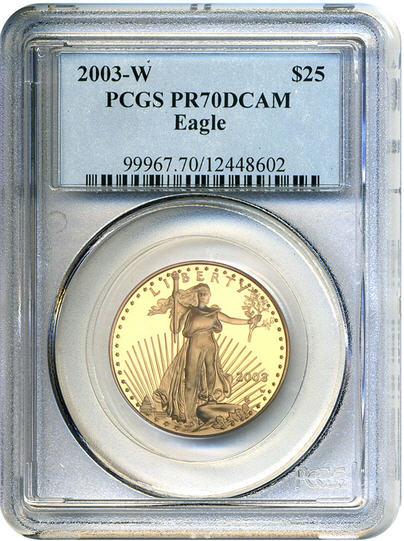アメリカ 25ドルイーグル金貨2003-W Gold Eagle $25 PCGS Proof 70 DCAM