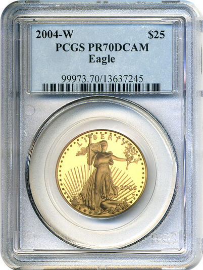 アメリカ 25ドルイーグル金貨2004-W Gold Eagle $25 PCGS Proof 70 DCAM