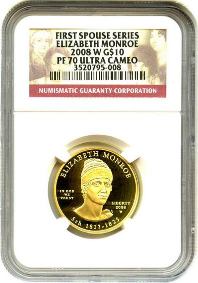 2008-W エリザベス・モンロー10ドル金貨 $10 NGC PF70-UCAM完全未使用