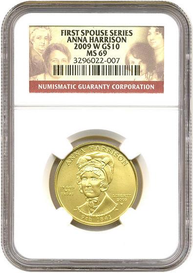 2009-W 10ドル金貨 アンナ ハリソン$10 NGC-MS69