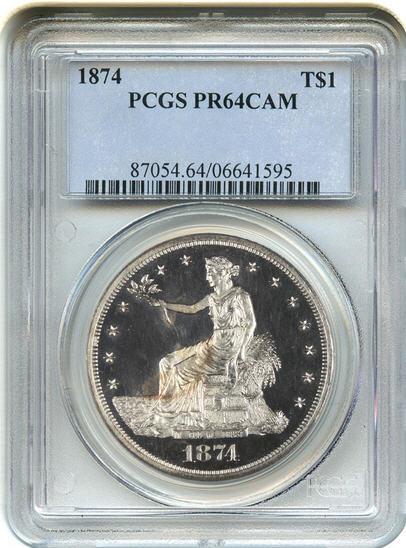 アンティークコイン アメリカ 1ドル トレードダラー銀貨 1874 Trade$ PCGS Proof 64 CAM 未使用